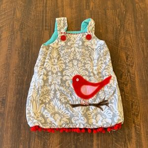 Grey & Red Damask Corduroy Red Bird Dress ❤️⭐️
